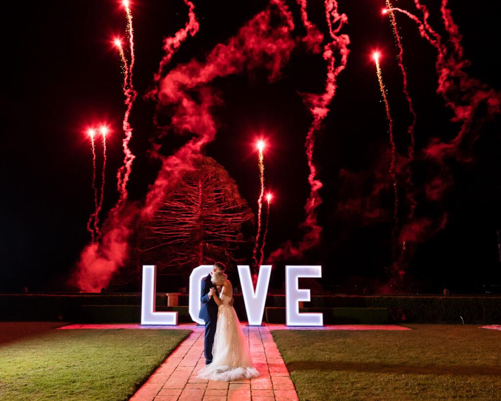 Fireworks at Wedding Flaxton Gardens